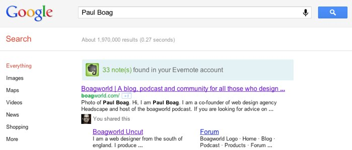 Evernote results alongside Google