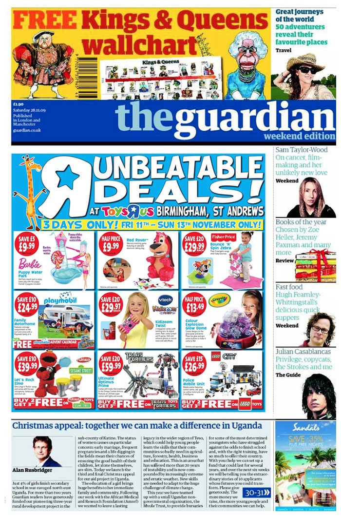 Guardian Newspaper full of advertising