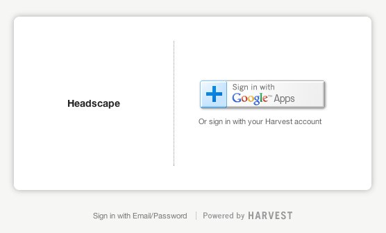Harvest login is primarily via Google