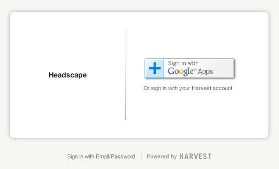 Harvest login is primarily via Google