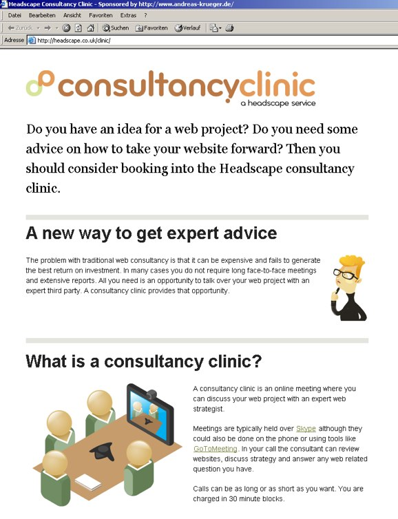 Consultancy Clinic Website viewed in IE 5