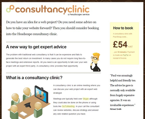 Consultancy Clinic website in IE 7