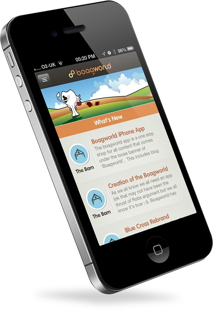 The boagworld iOS app running on an iPhone