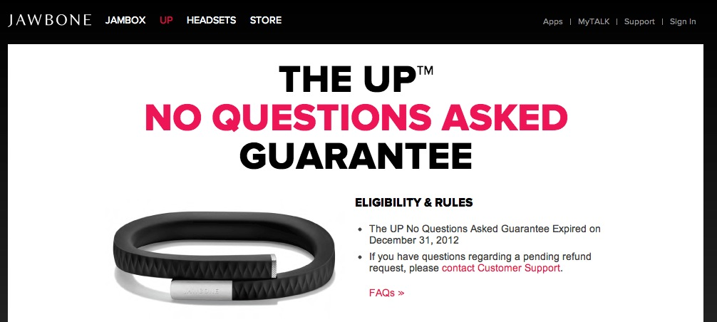 Jawbone UP refund page