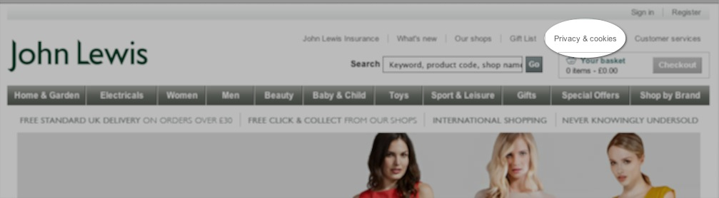 John Lewis website