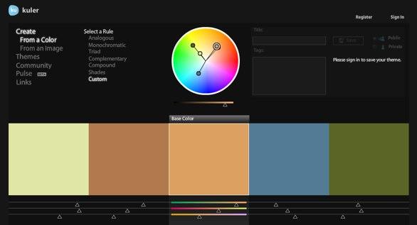 Boagworld colour palette shown in Kuler