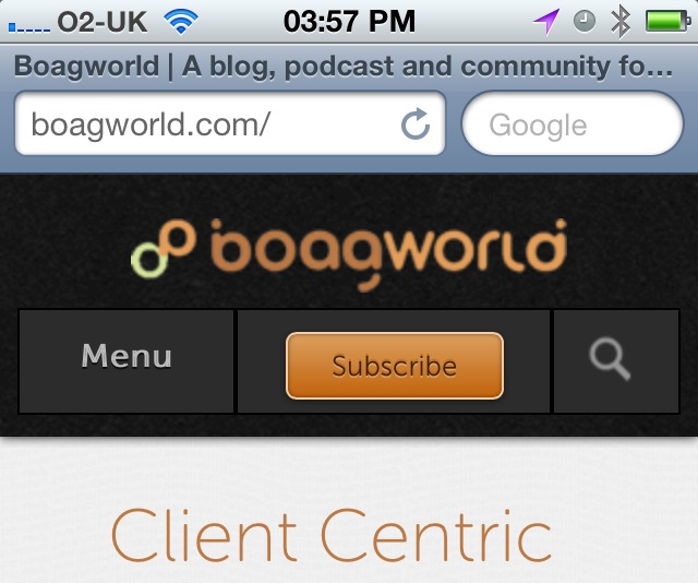 Image of the Boagworld logo looking fuzzy on the iPhone 4.