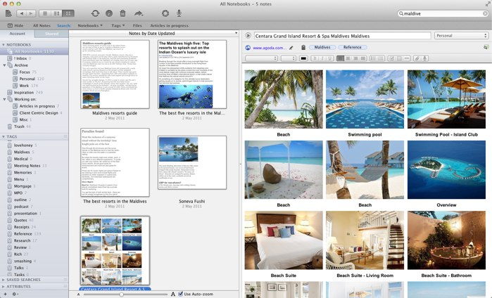 Evernote research on Maldives holiday