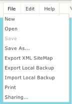 Screen capture of writemap export options