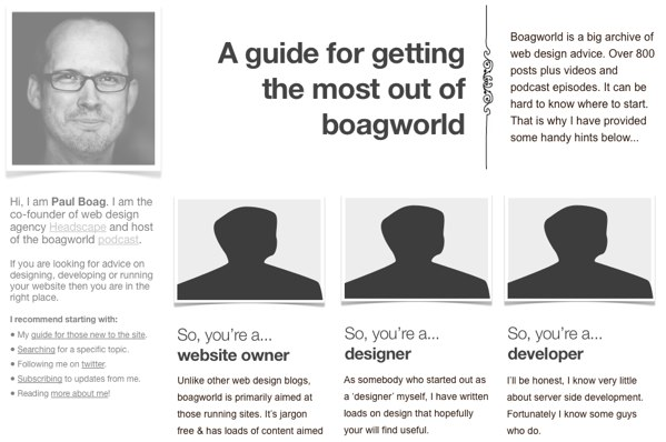 Wireframe of the upcoming boagworld new user guide