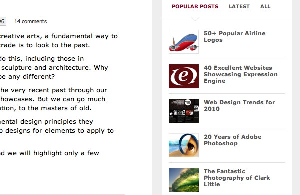 Popular posts as shown on the Web Designer Depot