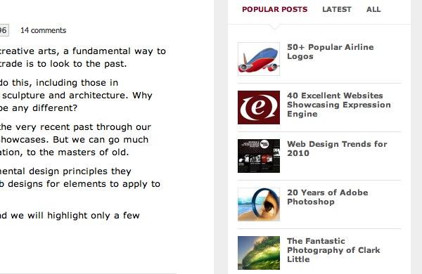 Popular posts as shown on the Web Designer Depot