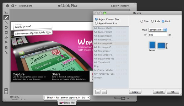 Skitch's resize options