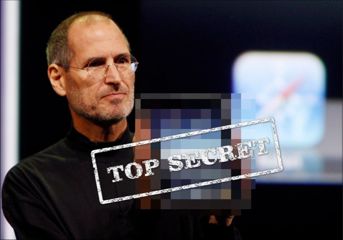 Steve Jobs holding up a top secret product