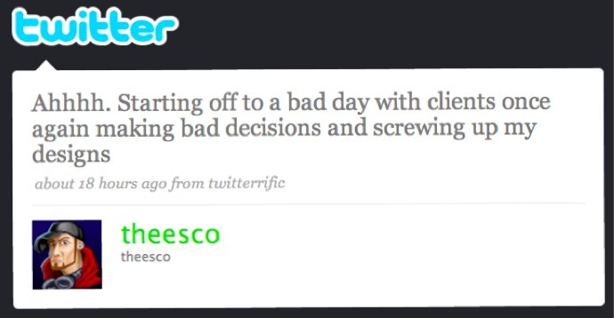 Tweet from web designer complaining about a client