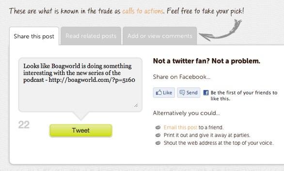 Image of the tweet box on the new boagworld.com website