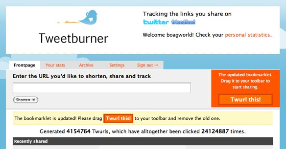 Tweetburner Homepage