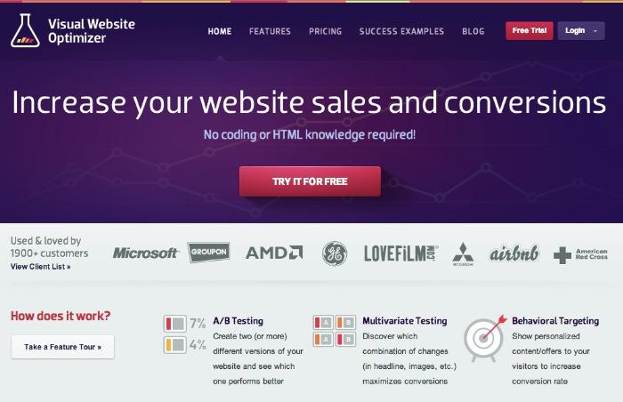 visualwebsiteoptimizer.com Homepage