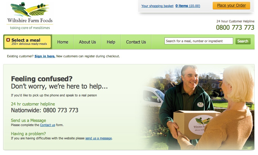 Wiltshire Farm Foods help page