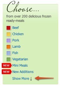 Menu on the Wiltshire Farm Foods website