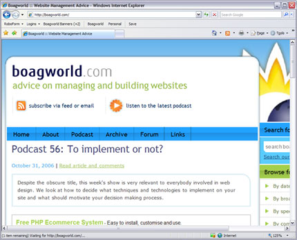 Screenshot of boagworld when magnified