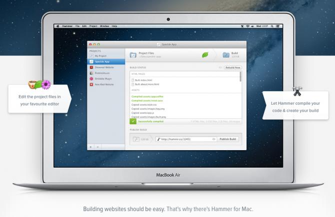 Screenshot of the Hammer App running on a mac