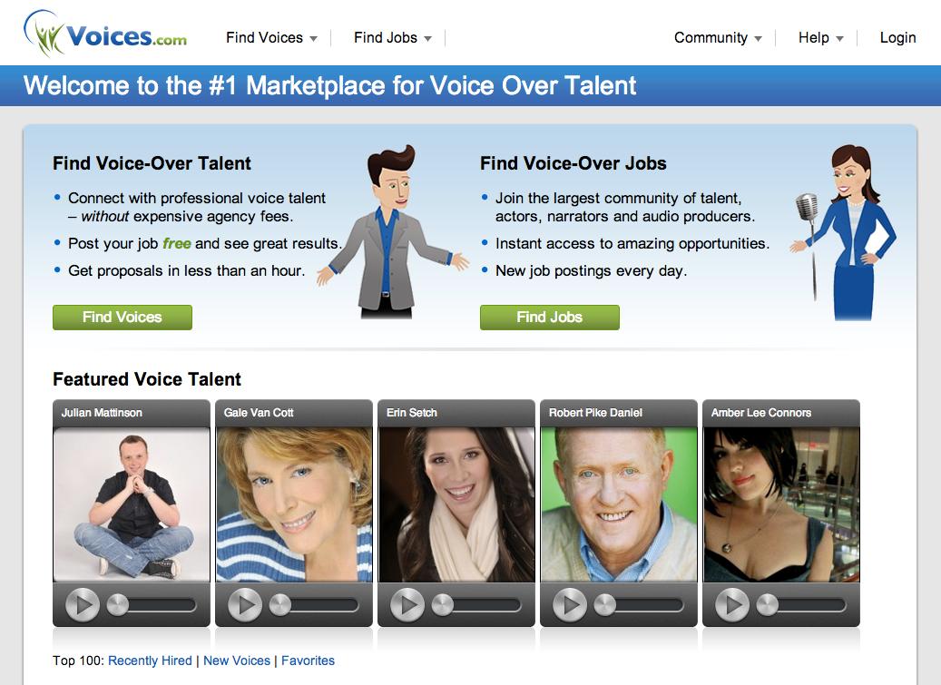 Screenshot of Voices.com