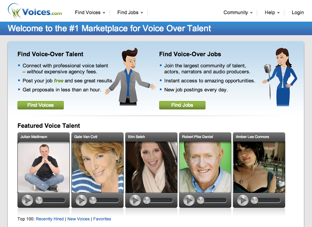 Screenshot of Voices.com