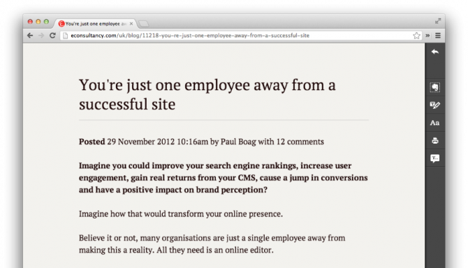 Econsultancy viewed in Evernote Clearly