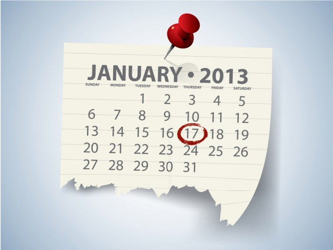 A calendar showing January 17th highlighted