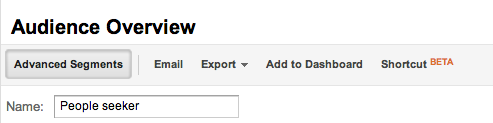 Giving a segment a name in Google Analytics