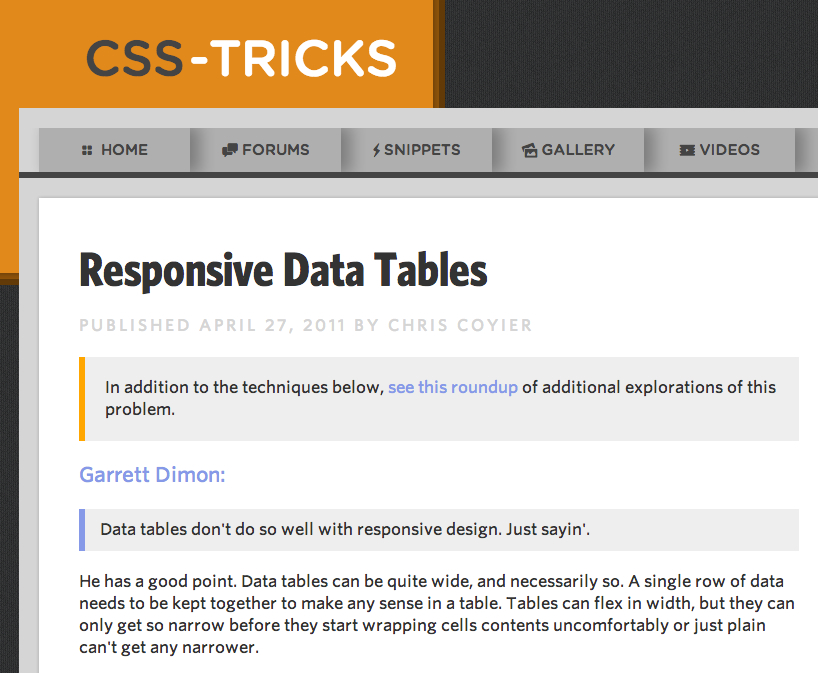Article on responsive data tables