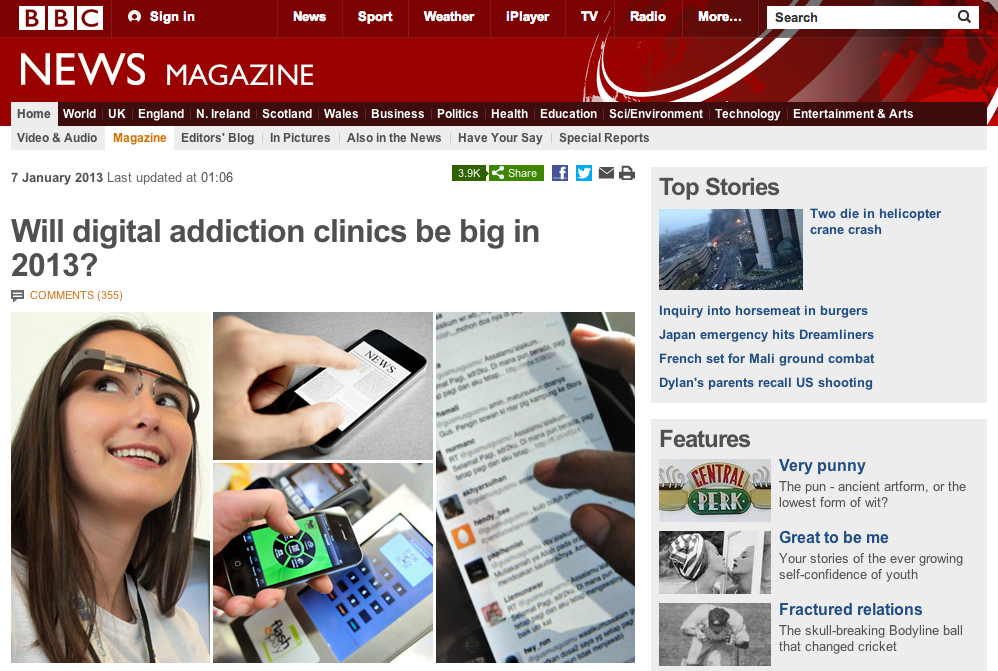 BBC post on digital addiction and other mobile trends in 2013