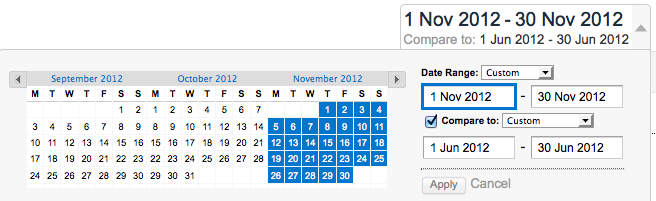 Select your comparative date ranges
