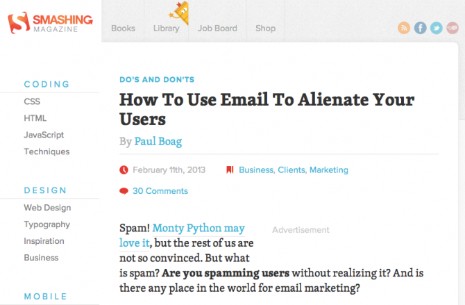 Smashing Magazine post about unsolicited email