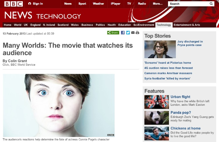 BBC post on films that watch you