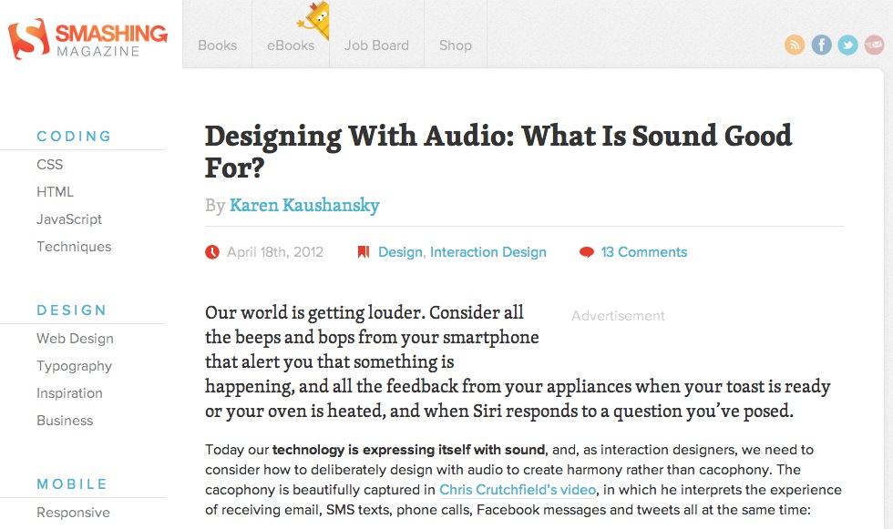 Smashing Magazine article on designing with audio