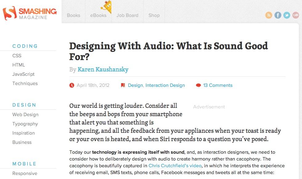 Smashing Magazine article on designing with audio