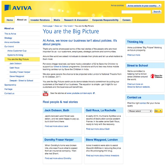 Aviva Corporate Website