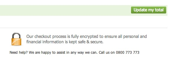 Reworded security messaging that replaced the versign logo.