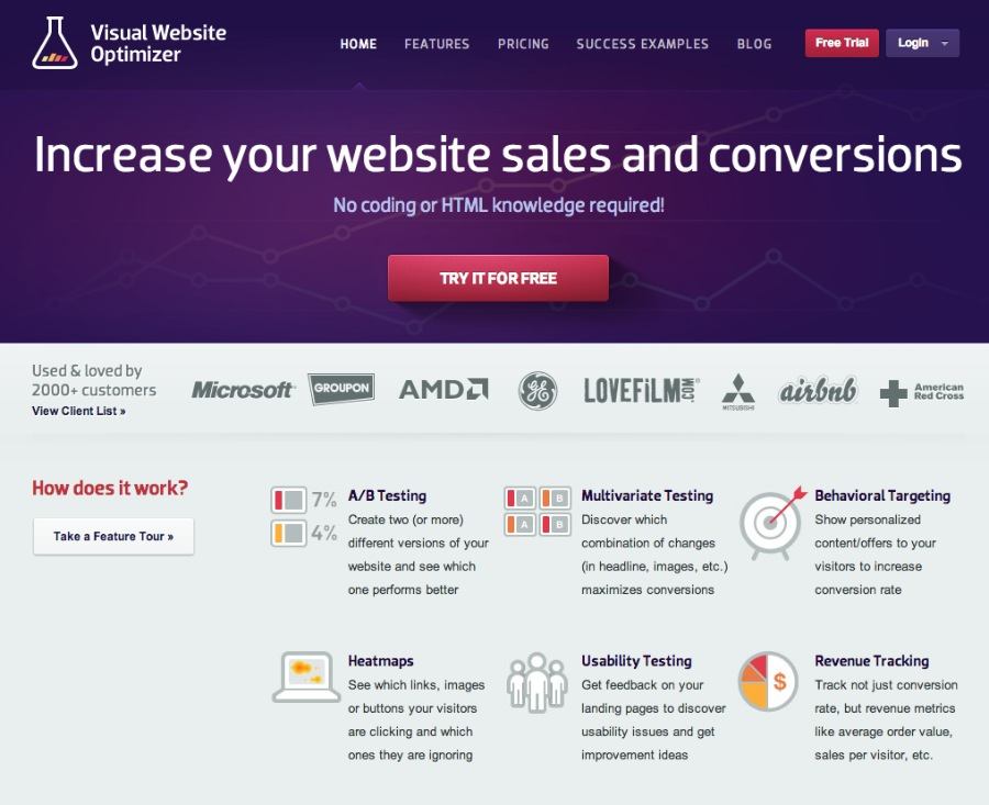 Visual Website Optimizer Homepage