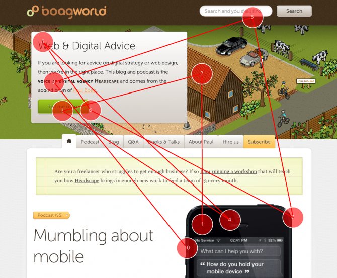 Fengui gaze plot of boagworld homepage