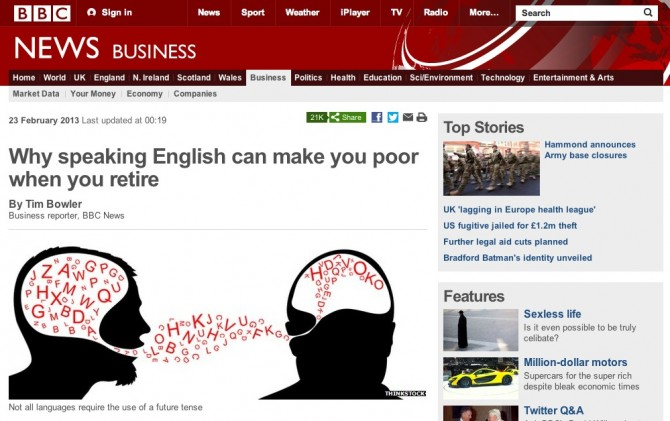 BBC article on how being english makes you poor