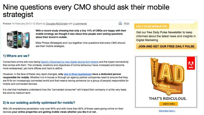 Nine questions every CMO should ask their mobile strategist