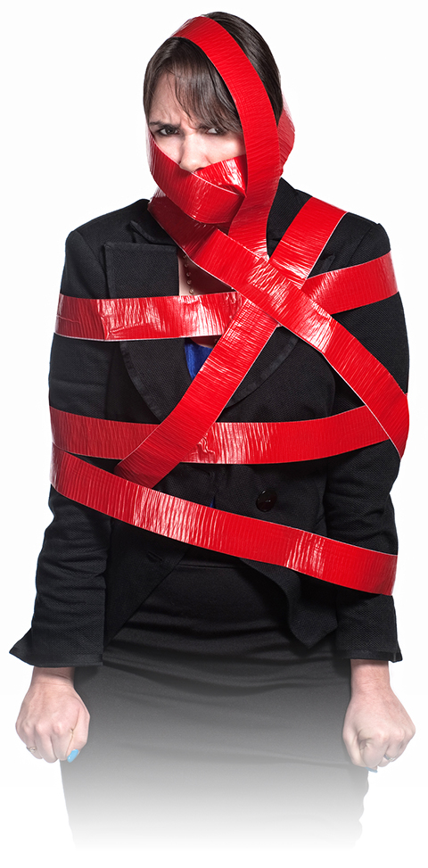 Woman in Red Tape
