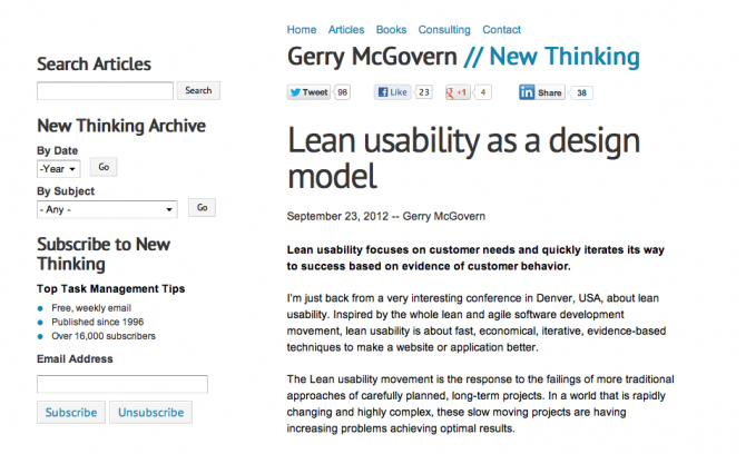 Leaning usability as a design model