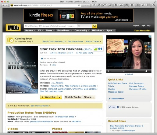 IMDB review of Star Trek Into Darkness