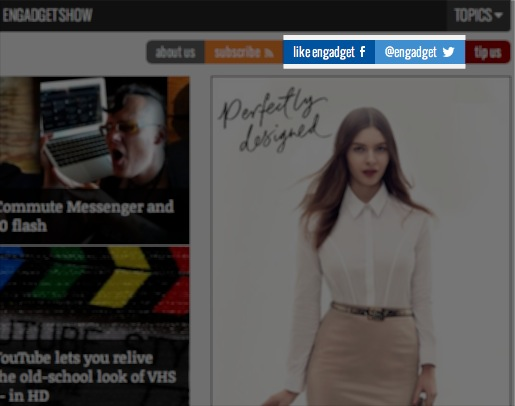 Social Media Sharing Icons on Engadget