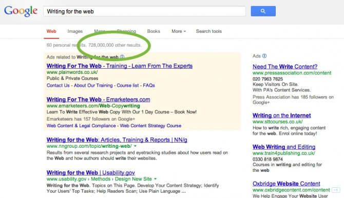 Google search for writing on the web that returns 728 million results