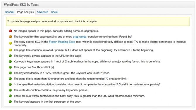 Yoast SEO WordPress Plugin - Page Analysis